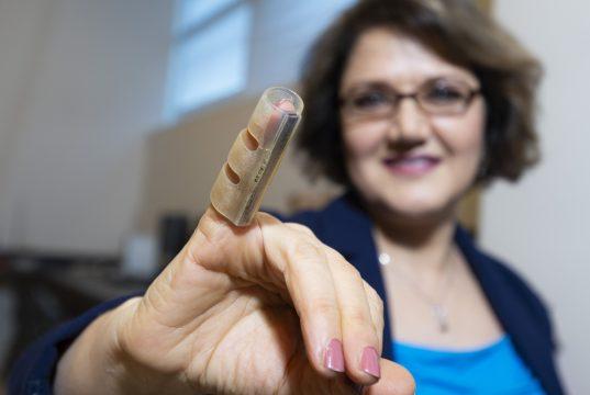 KSU Prof. Simin Nasseri demonstrates new finger support system