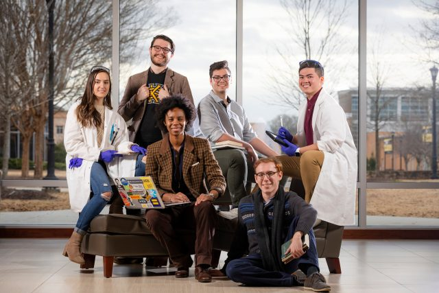 This photoshoot for KSU magazine features students that are presenting at the 2019 NCUR conference. This group photoshoot took place in the Bagwell education building.