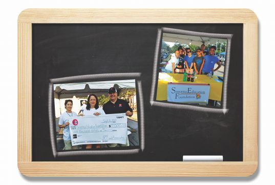 Blackboard with inset images of Smyrna Education Foundation events.