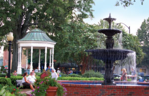 The fountain in Marietta Square