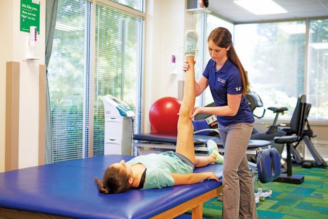 Child undergoing physical therapy session at CHOA