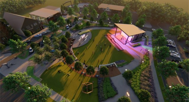 Rendering for new park in downtown Powder Springs, Georgia.