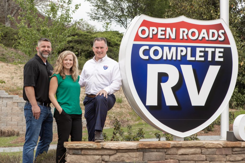 Drew Tutton and his team outside of Open Roads Complete RV in Acworth, Georgia.