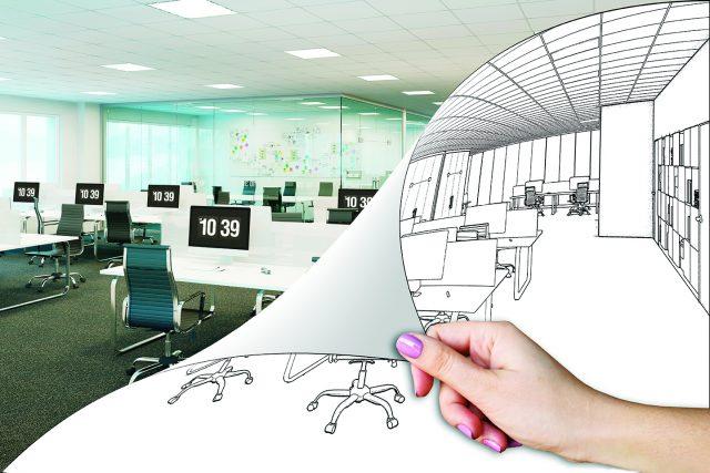3d illustration. An office renovation concept