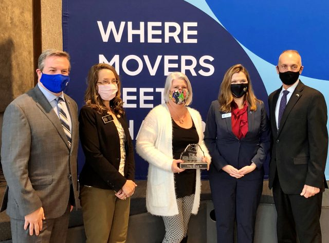 Left to right: John Loud, 2020 Cobb Chamber Chairman; District 1 Commissioner, Keli Gambrill; Cris Eaton-Welsh, Kennesaw Citizen of the Year; Sharon Mason, President and CEO of the Cobb Chamber; Derek Easterling, Mayor of Kennesaw.