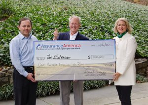 From left to right: AssuranceAmerica CFO Daniel Scruggs; Skip Harper, chairman of the board at The Extension; and Renee McCormick, The Extension's director of community relations.