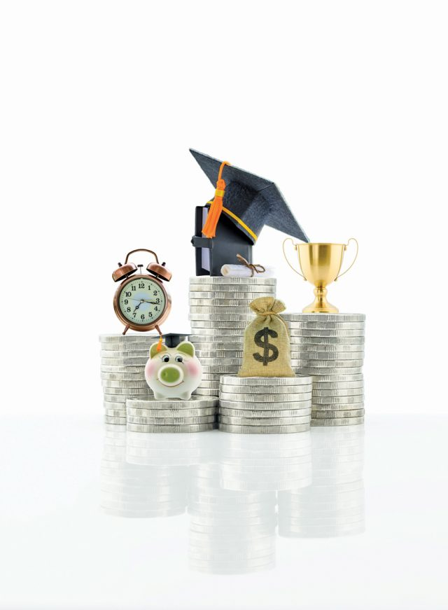 Saving for child education / student loan, financial concept : Depicting money or asset pay for knowledge program